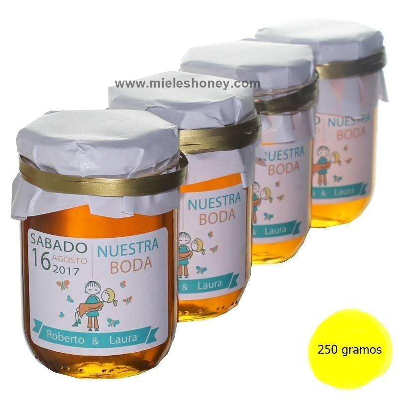 Regalo tarro miel en bodas personalizado