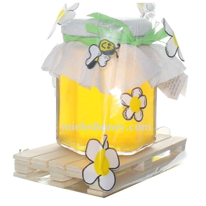 Tarrito miel 250 gr. con mini palet DETALLE REGALO BODA