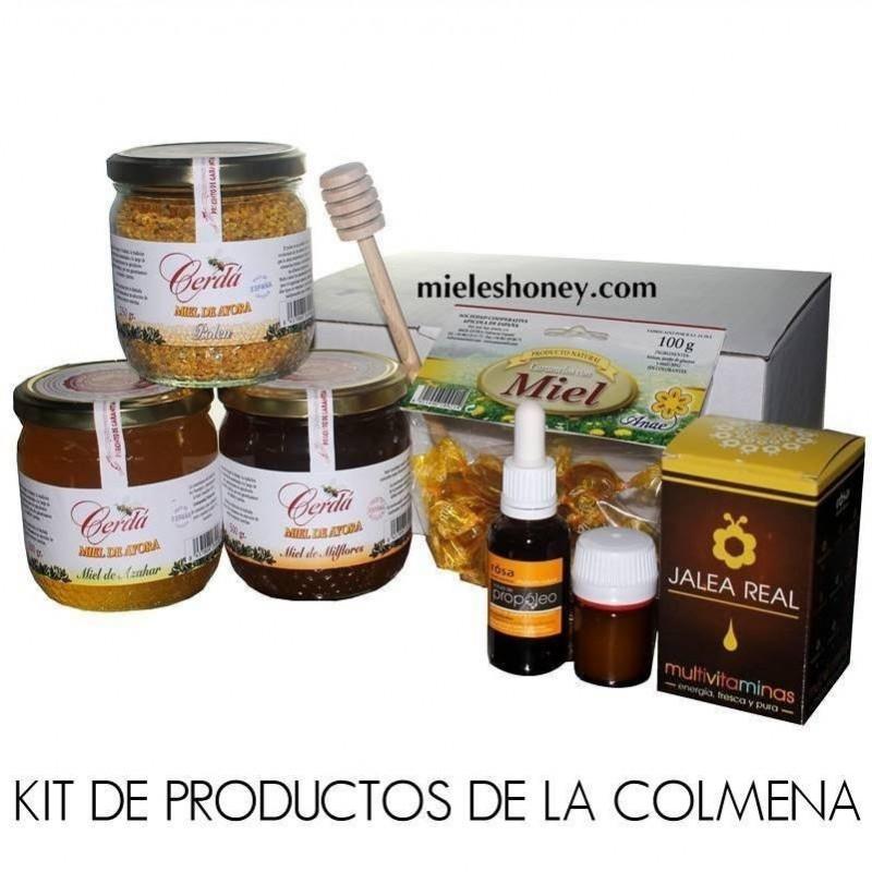Pack productos de la colmena: Mieles, Polen, Propoleo, Jalea Real, Caramelos y cuchara